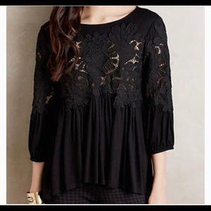 Anthropologie black lace top